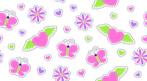 Seamless pattern of cute stickers Royalty Free Stock Image
