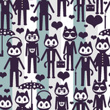 Seamless pattern with cute stylish kittens Royalty Free Stock Photos