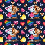 Seamless pattern. Cute Teddy bears on a background of hearts. Watercolor illustration. Dark background with Valentine`s stock illustration
