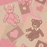 Seamless pattern with cute Teddy. Stock Photo