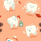 Seamless pattern with cute tooth Stock Image
