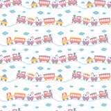 Seamless pattern with cute toy trains. Royalty Free Stock Photo