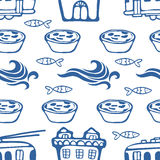 Seamless pattern with cute trams houses waves sardines and pastries Royalty Free Stock Photography
