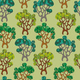 Seamless pattern cute trees Royalty Free Stock Images