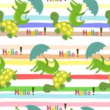 Seamless pattern with cute turtle and crocodile. vector print. Seamless pattern with cute turtle and crocodile. vector print Stock Photography