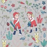 Seamless Pattern of Cute Two Kids Gardening Stock Photo