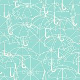 Seamless pattern with cute umbrellas in flat Royalty Free Stock Photos