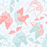 Seamless pattern with cute unicorn stock illustration