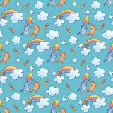 Seamless pattern with cute unicorns. Children`s seamless pattern with cute unicorns in doodle style. Colorful vector background Royalty Free Stock Photography