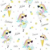 Seamless pattern with cute unicorns. Vector illustration Stock Photo
