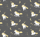 Seamless pattern with cute Unicorns, stars and moon. Vector illustration Stock Photo
