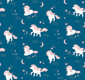 Seamless pattern with cute Unicorns, stars and moon. Vector illustration Royalty Free Stock Photos