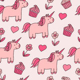 Seamless pattern with cute unicorns Royalty Free Stock Photos