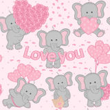 Seamless pattern cute valentine elephant Royalty Free Stock Photos