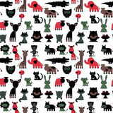 Seamless pattern with cute various colorful animals Royalty Free Stock Images