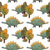 Seamless Pattern with Cute various Dinosaurs blue and orange stock images