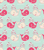 Seamless pattern with cute wales Royalty Free Stock Photos