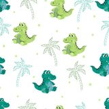 Seamless pattern with cute watercolor crocodiles and palms. Vector background for kids Stock Photo