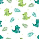 Seamless pattern with cute watercolor crocodiles Stock Images