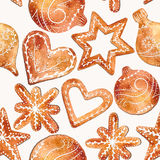 Seamless pattern of cute watercolor gingerbread. Christmas gingerbread cookies.Vector watercolor illustration, eps10 Royalty Free Stock Image