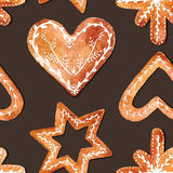 Seamless pattern of cute watercolor gingerbread. Holidays gingerbread cookies.Vector watercolor illustration, eps10 Royalty Free Stock Photo