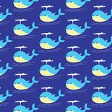 Blue whale pattern Stock Images