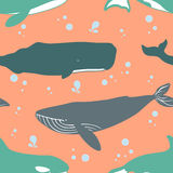 Seamless pattern with cute whales. Royalty Free Stock Photo