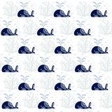 Seamless pattern with cute whales