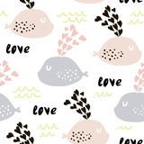 Seamless pattern with cute whales and hearts. Cute marine background. Vector Illustration Stock Photo
