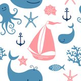 Seamless pattern with cute whales, sailing. Stock Photography
