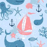 Seamless pattern with cute whales, sailing. Stock Photo