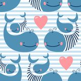 Seamless pattern with cute whales. Royalty Free Stock Photography