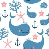 Seamless pattern with cute whales. Stock Photography