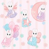 Seamless pattern of cute white bunnies on pink background royalty free illustration