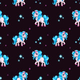 Seamless pattern with cute white cartoon horse Royalty Free Stock Photography