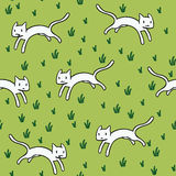 Seamless pattern with cute white cats. stock illustration