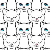 Seamless pattern with cute white cats Stock Image