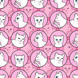Seamless pattern with cute white cats Stock Photo