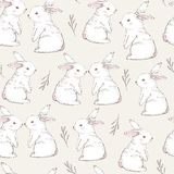Seamless pattern with cute white rabbits. Hand Drawn vector vector illustration