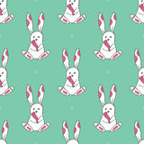 Seamless pattern with cute white rabbits. Vector illustration Stock Photo