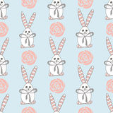 Seamless pattern with cute white rabbits. Vector illustration Royalty Free Stock Image