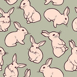 Seamless pattern with cute white rabbits Stock Image