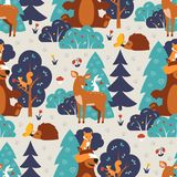Seamless pattern with cute wild animals in blue forest. Fox, squirrel, bear, hare, deer, hedgehog, butterfly. Royalty Free Stock Image