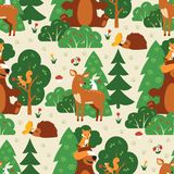 Seamless pattern with cute wild animals in green forest. Fox, squirrel, bear, hare, deer, hedgehog, butterfly Royalty Free Stock Photo