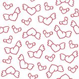Seamless pattern with cute winged hearts. Valentine`s Day backgr Royalty Free Stock Photos