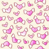 Seamless pattern with cute winged hearts. Valentine`s Day background. Vector template. Royalty Free Stock Photos