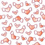 Seamless pattern with cute winged hearts. Valentine`s Day background. Vector template. Stock Image