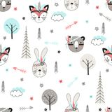 Seamless pattern with tribal animals Stock Photography