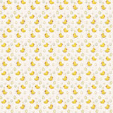 Seamless pattern with Cute yellow birds ducks and eggs on white background - watercolor wallpaper for a child's room Stock Photography