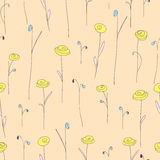 Seamless pattern with cute yellow flowers. Creamy background with stylized doodle roses. Royalty Free Stock Images